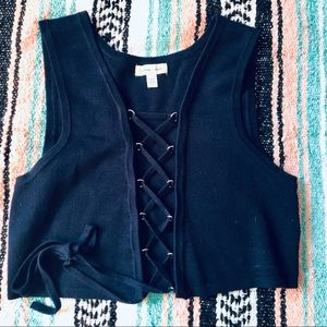 Navy Bavarian Sleeveless Sweater Lace Up Vest Top